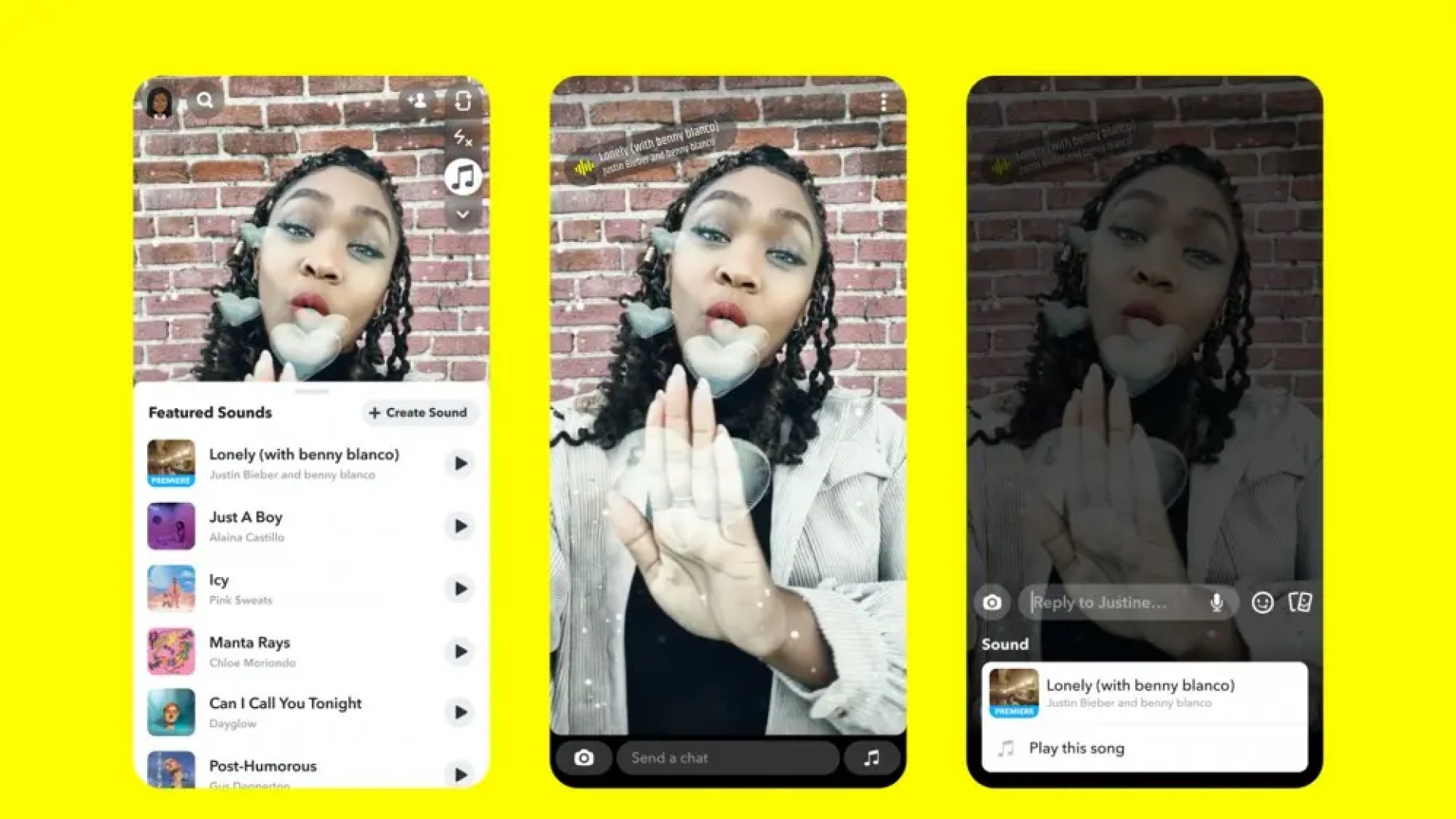 A screenshot of Snapchat Sounds in action.