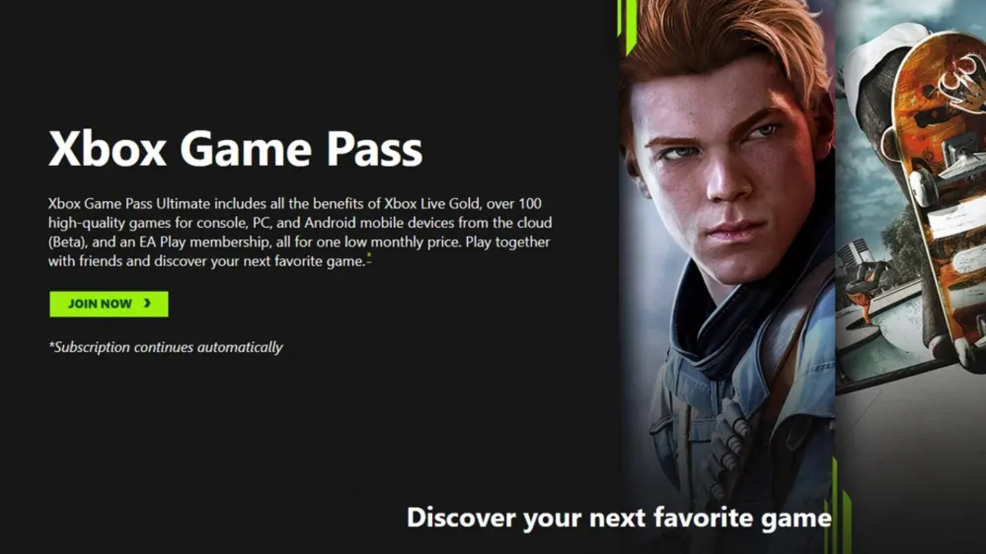 A screenshot from the Xbox Game Pass website.