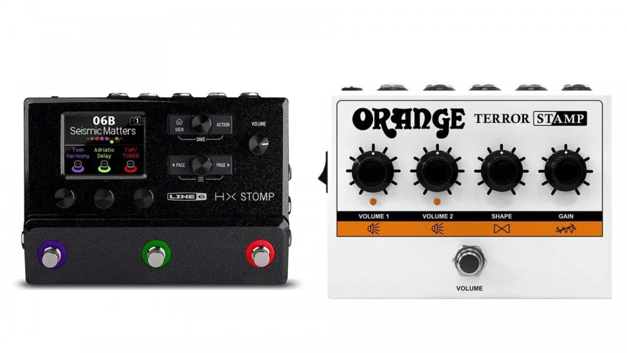 Фото гитарных педалей Line 6 Helix и Orange Terror.