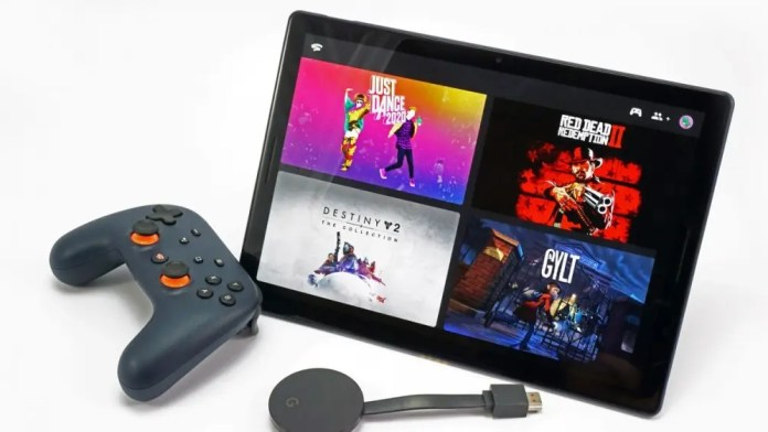 Google Stadia on tablet