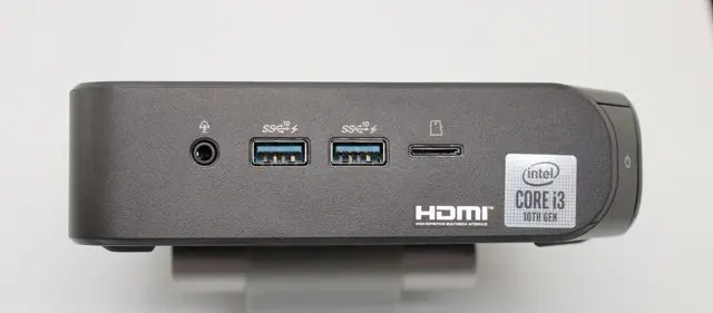 Photo of Chromebox 4's front panel showing ports, SD Card slot and headphone/mic jack