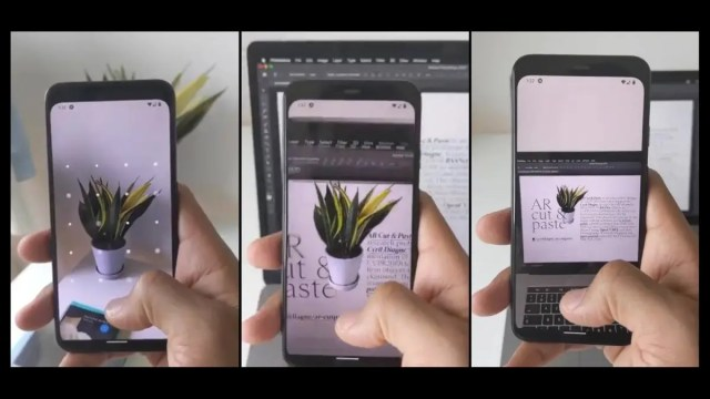 Three images of a plant being scanned and inserted into a document.