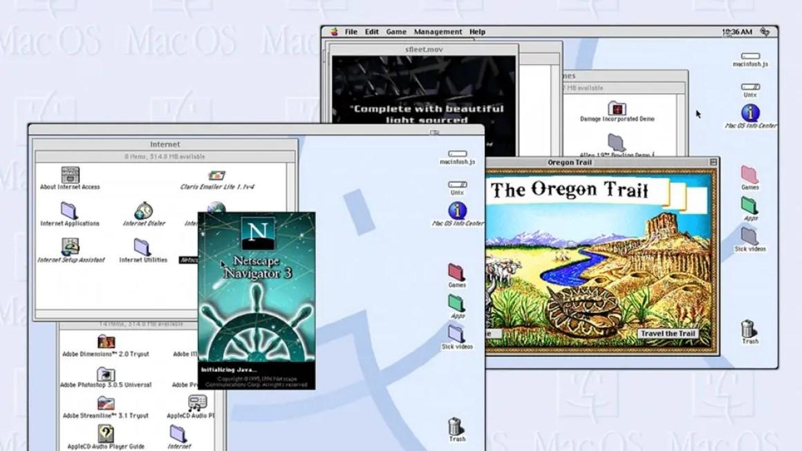 Снимки экрана с macintosh.js, работающими под названием 'The Oregon Trail' и Netscape Navigator.