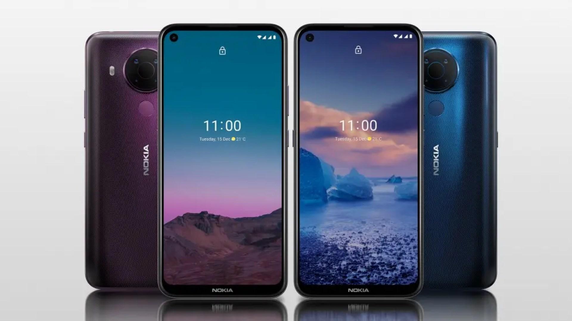 Nokia 5.4 smartphones against gray background