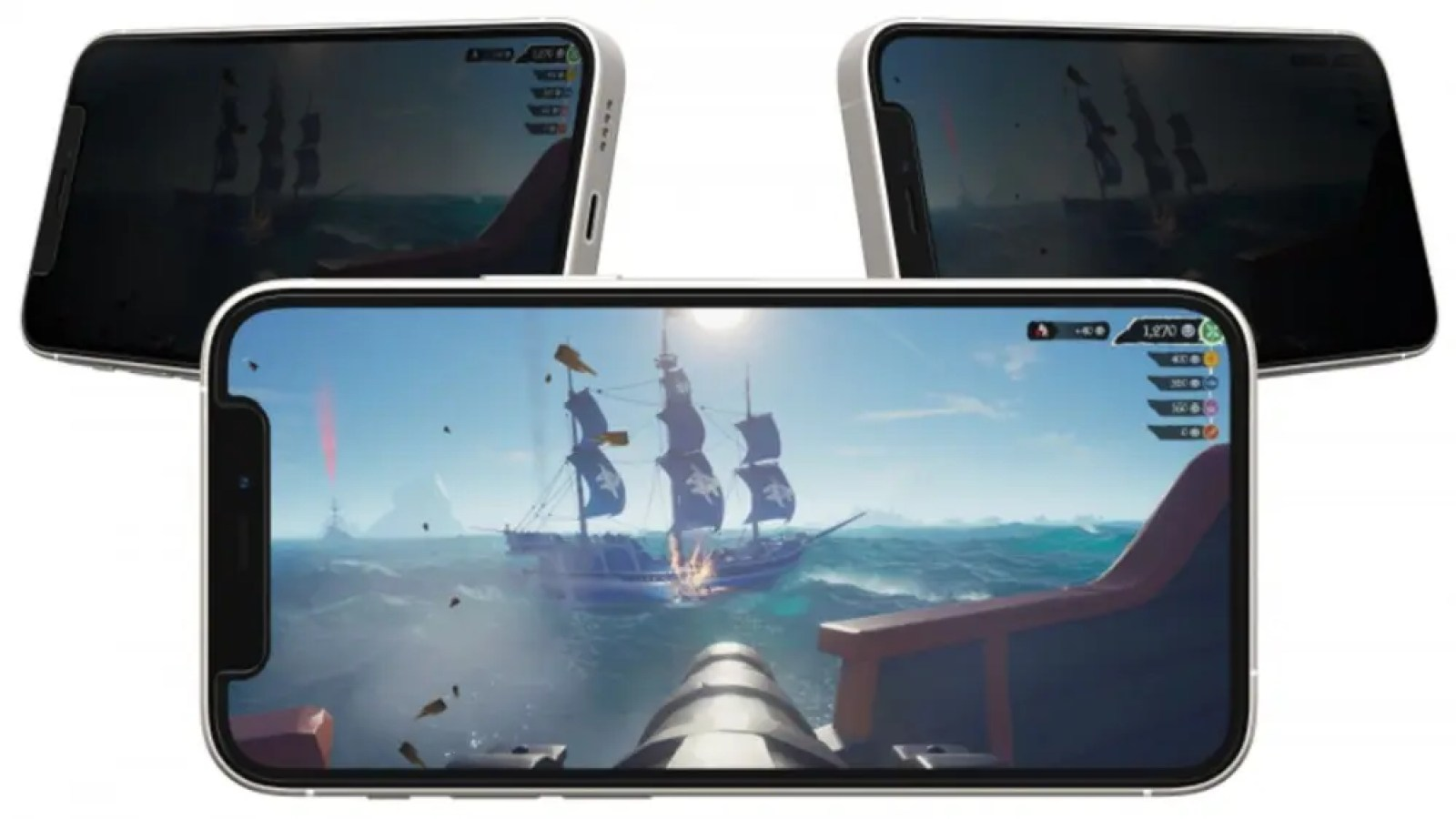 OtterBox Gaming Glass Privacy Guard head-on and from the side