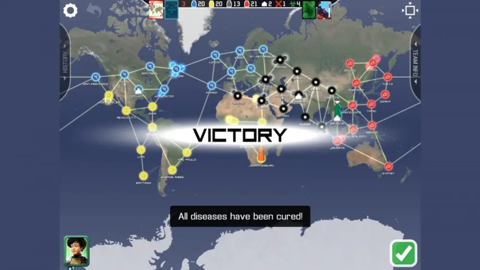 Pandemic gameplay victory map with cures