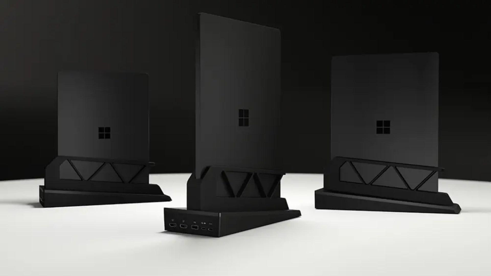 Three Surface Laptop Docks in variying sizes.