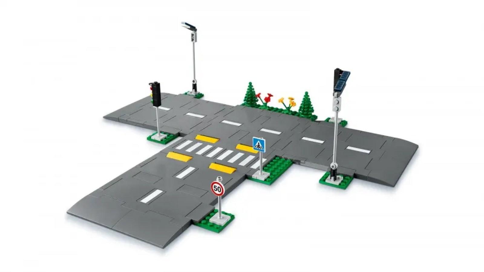 A closeup of a LEGO modular road system