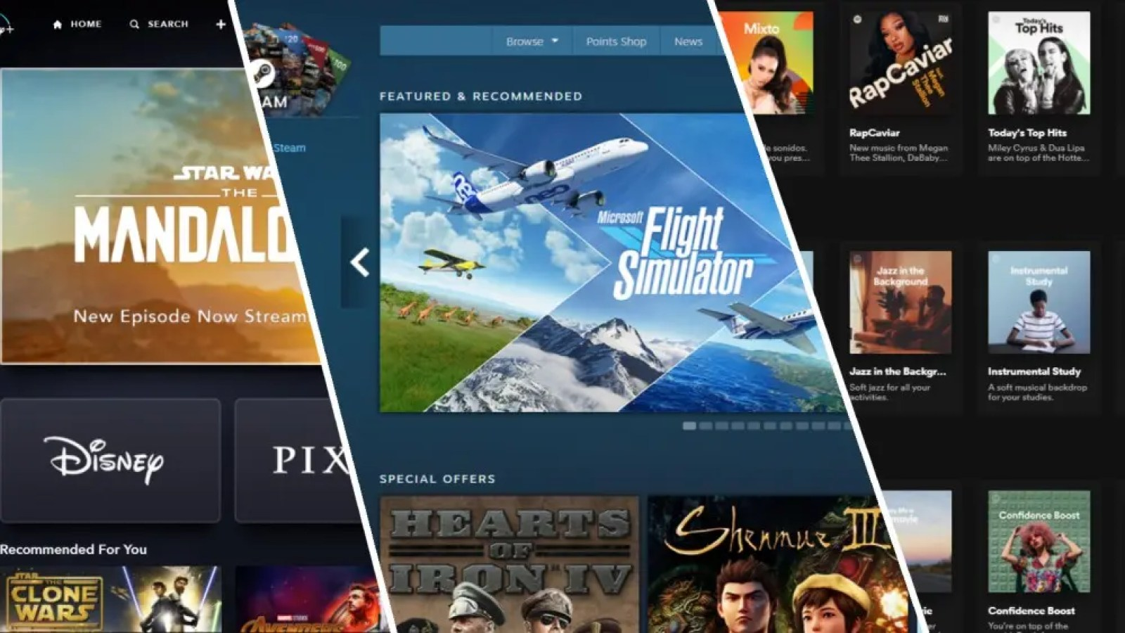 Screenshots of Disney+ Home Page, Steam Storefront, and Spotify Home Page.