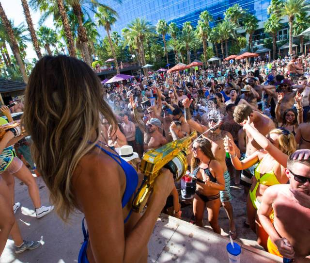 Champagne Is Shot Out Into The Crowd As Lexy Panterra Performs At Rehab Dayclub At Hard