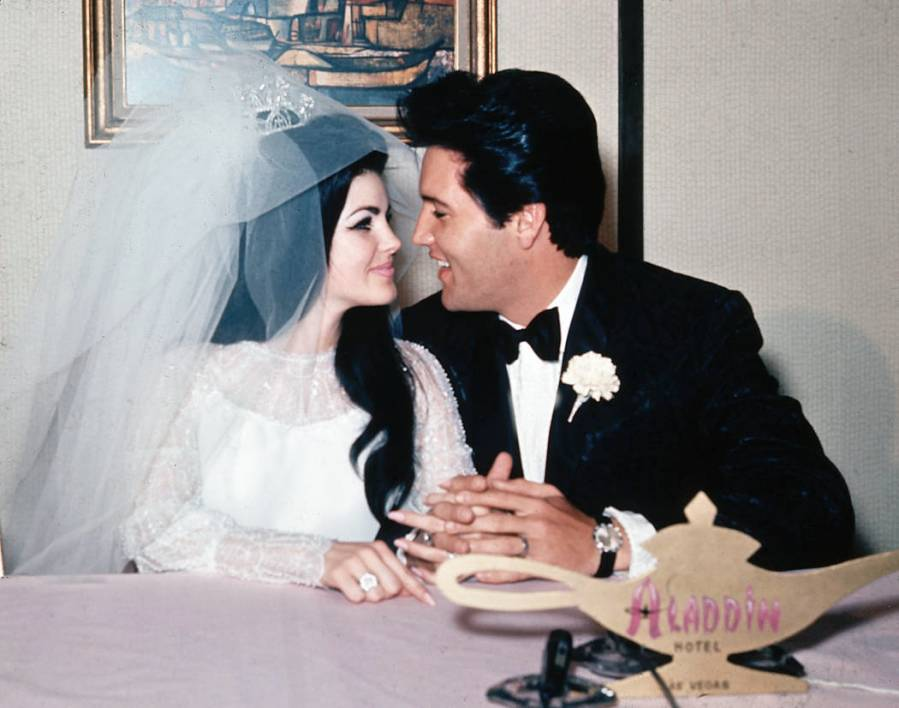 Singer Elvis Presley and his bride, the former Priscilla Beaulieu, are shown at the Aladdin Hot ...