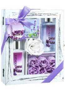 Lavender Spa Bath Gift Set in Distress White Wood