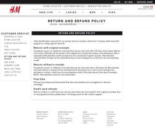 returns policy h&m