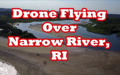 Drone Flying over Narrow River, RI