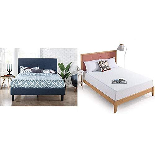 Zinus Omkaram Upholstered Platform Bed with Wood Slat Support, Full & 10 Inch Gel-Infused Green Tea Memory Foam Mattress, Full