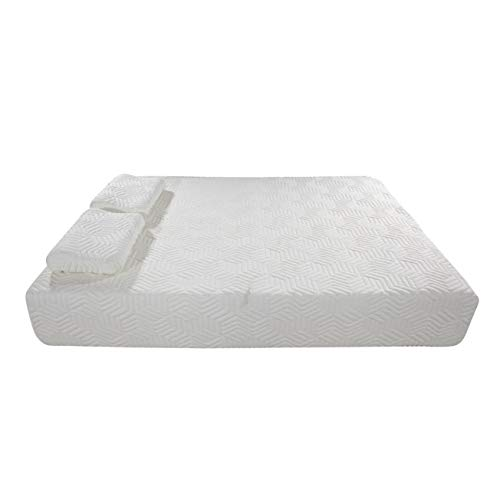10 Inch Memory Foam and Innerspring Hybrid-Mattress – with 2 Pillows – Cool Medium-Firm Feel – Three Layers, Full Size, White