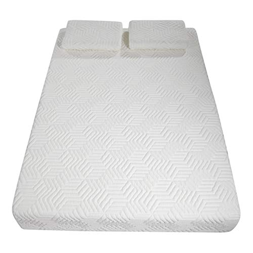 10 Inch Memory Foam and Innerspring Hybrid-Mattress – with 2 Pillows Punches – Cool Medium-Firm Feel – Four Layers, White