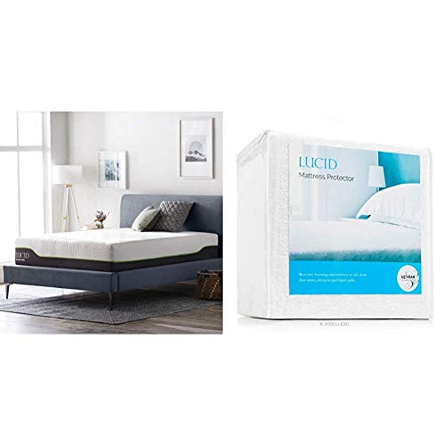 LUCID 12 Inch Twin Latex Hybrid Mattress – Memory Foam – Responsive Latex Layer – Premium Steel Coils – Medium Firm Feel – Temperature Neutral & Protector, Twin