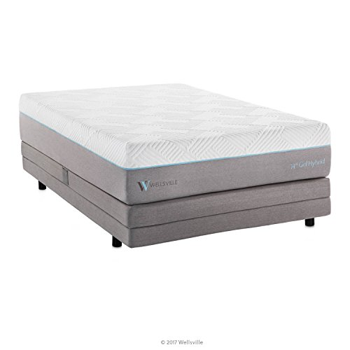 WELLSVILLE 14 Inch Gel Memory Foam and Innerspring Premium Hybrid Mattress Split California King White