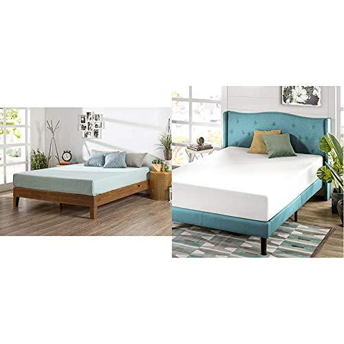 Zinus Alexia 12-Inch Deluxe Wood Platform Bed in Rustic Pine Finish, Queen – No Boxspring Needed, Wood Slat Support & Green Tea 10-Inch Memory Foam Mattress, Queen