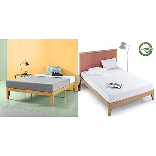 Zinus Moiz 14 Inch Wood Platform Bed/No Box Spring Needed/Wood Slat Support/Natural Finish, Full & 8 Inch Gel-Infused Green Tea Memory Foam Mattress, Full