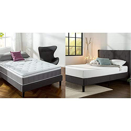 Zinus 12 Inch Support Plus Pocket Spring Hybrid Mattress with Euro Top/Extra Firm Feel/Pocket Innersprings for Motion Isolation/Bed-in-a-Box, Queen & Shalini Platform, Queen, Dark Grey