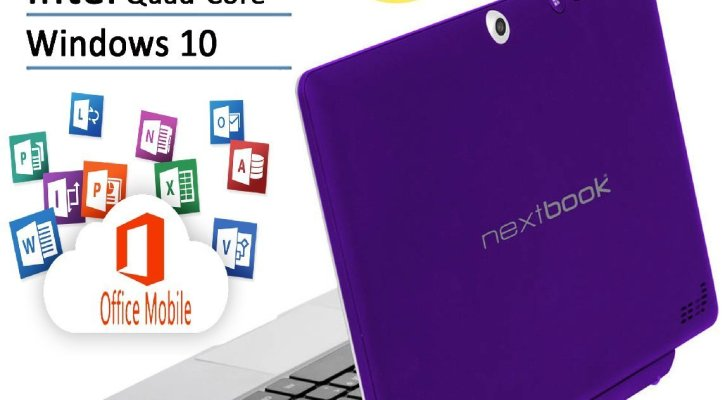 Nextbook Flagship Purple Edition Flexx 10.1 Touchscreen 2 IN 1 Tablet Laptop With Keyboard Free Office Moblie (Intel Quad-Core Z3735F Processor, 2GB RAM, 32GB Storage and 32GB MicroSD, IPS, Windows 10)