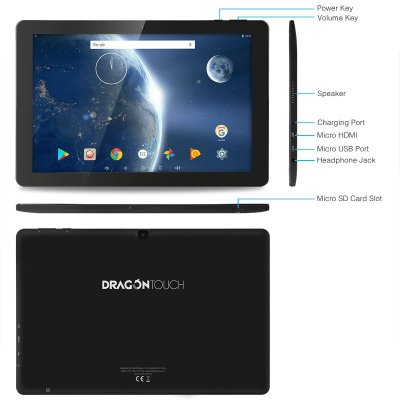 Dragon Touch X10 2017 Edition 10 inch Quad Core 64 bits Android Tablet, 2GB RAM 16GB Nand Flash Android 7.0 Nougat, IPS Display 800x1280, Bluetooth, Micro HDMI