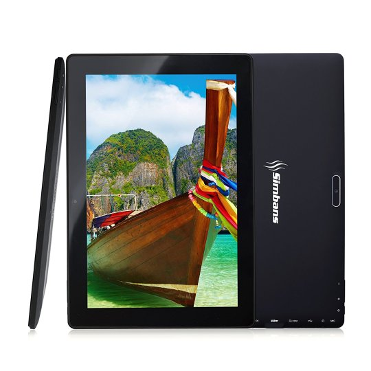 [3 Bonus item] Simbans TangoTab 10 Inch Tablet 2GB RAM + 32GB Disk Android 7.0 Nougat, 10.1 Inch IPS screen, Quad Core, HDMI, 2 + 5 MP Camera, GPS, WiFi, USB, Bluetooth - 2018 Edition PC Computer