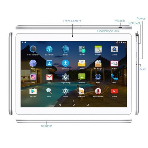 YELLYOUTH Phone Tablet 10.1 Inch Android Tablet with Dual Sim Card Slots, IPS MTK Octa-Core 4GB RAM 64GB ROM WiFi Bluetooth GPS 3G Unlocked Phone Tablet PC (Silver)