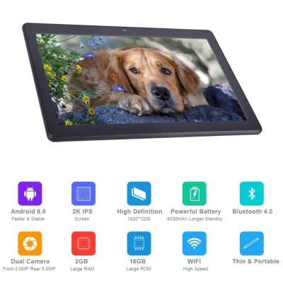 2018 BENEVE 10 Android Tablet Google Android 6.0 Marshmallow, Fast CPU Quad-Core 1.3GHz, GPS, 2GB RAM, 16GB ROM, Dual Camera, Front 2MP, Rear 5MP, WIFI, Bluetooth, 10.1-inch HD IPS Screen, Google Play Store, OTA Update