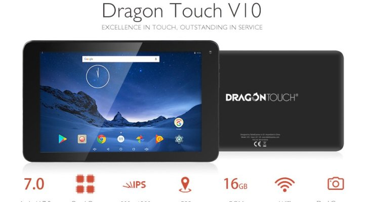 Dragon Touch V10 10 Inch Android Tablet, Google Android 7.0 Nougat