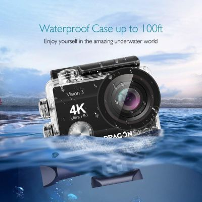 2018 Dragon Touch 4K Action Camera 16MP 4X ZOOM Sony Sensor Vision 3 Underwater Waterproof Camera