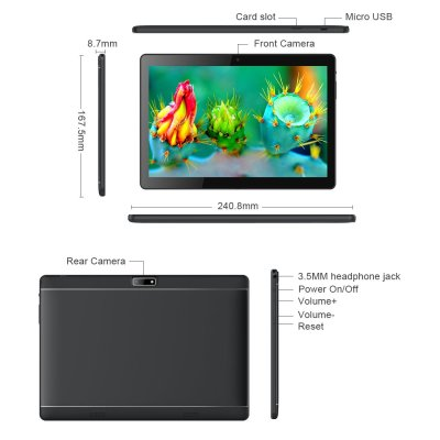 BENEVE 10.1-inch Android Tablet, Google Android 7.0, Quad-Core 1.3GHz CPU