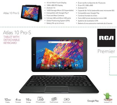 RCA 10-inch Android Tablet with Keyboard Touchscreen WiFi Tablet, 1.3GHz Quad-Core
