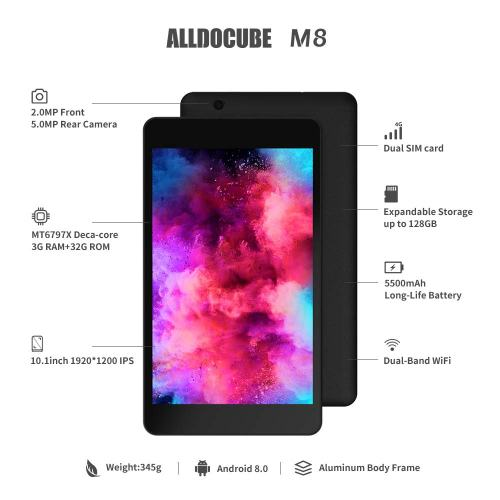 2019 ALLDOCUBE M8 Phablet PC, Android 8.0 Oreo with 2K Resolution Screen