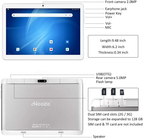 2020 Hoozo 10-inch Phone Tablet, 3G Phablet, Android 9.0 Pie