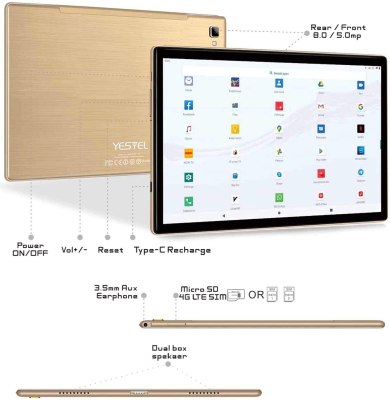 2020 YESTEL 10-inch Phone Tablet Newest Android 10 Tablet