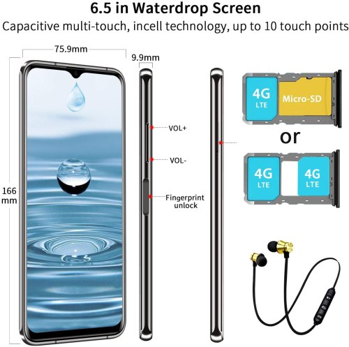 AOYODKG Note 9S Cell Phone Unlocked 6.5-Inch 4G LTE
