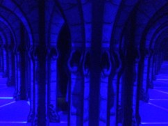 A bluish hall of mirrors