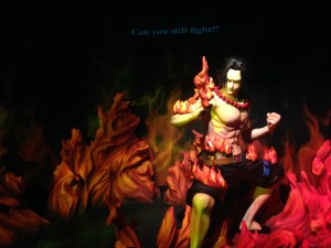 A life sized Ace figurine with 'Can you fight' written on the backdrop