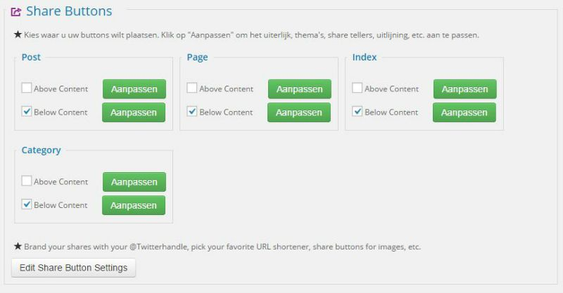 Shareaholic Settings Buttons