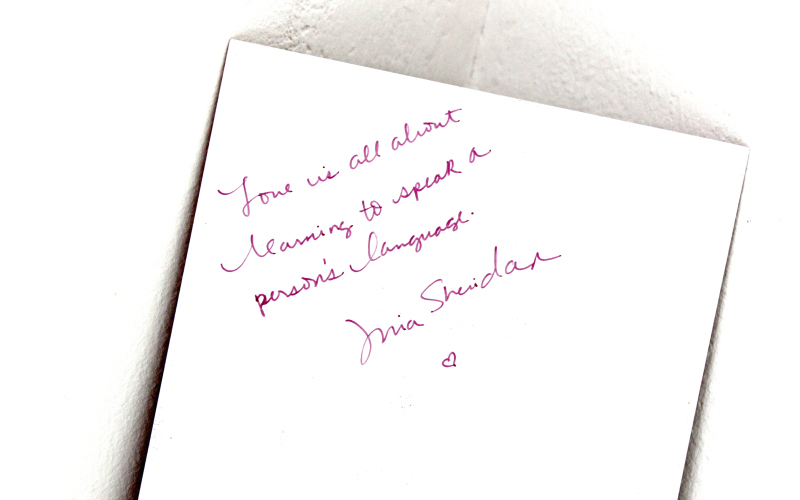 Handwritten message Mia Sheridan