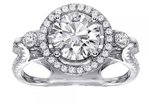 Buy 1.64 CT TW Designer Diamond Halo Engagement Ring in Micro Pave 18k White Gold Setting