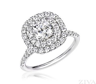 1.50 Ct Women's Square Cushion Genuine Diamond Double Halo Engagement Ring Set in 18k White Gold