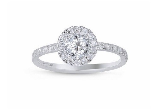 3/4 Carats Total Weight Diamond Halo Engagement Ring GH/I1 14K White Gold