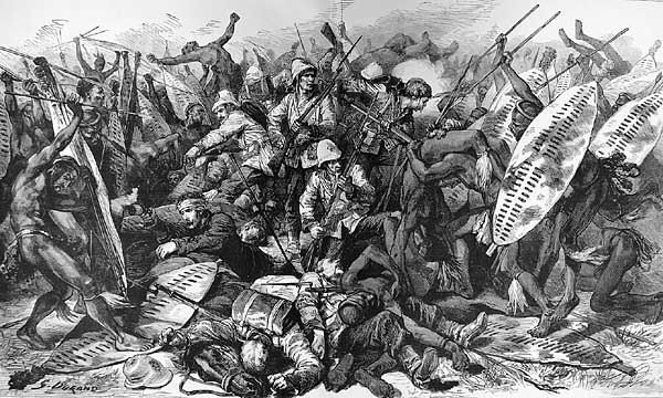 A drawing of the Zulu amabutho engaged in battle. Image credit zuluculture.com