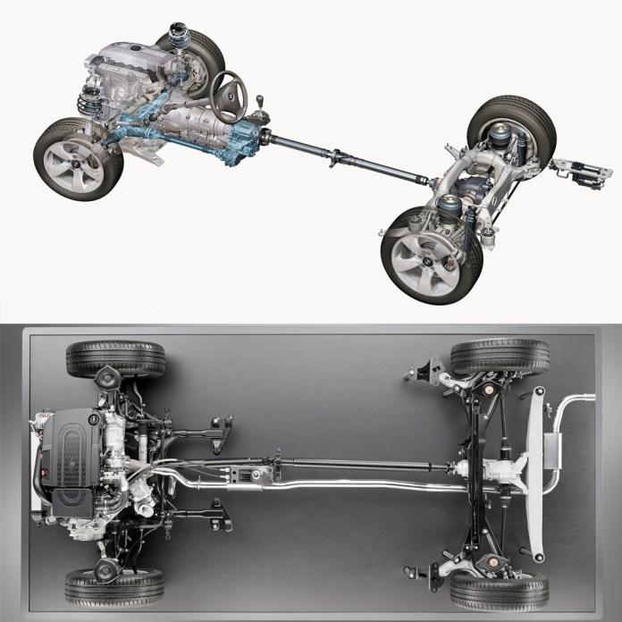 : Modelo de 2010 (con motor longitudinal) arriba, y de 2015 (con motor transversal), abajo