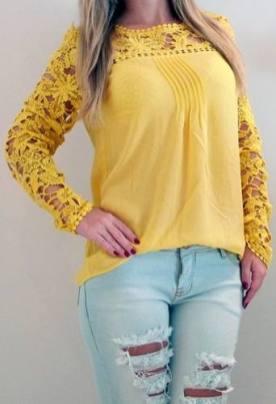 blusa de renda amarela 5