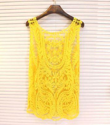 blusa de renda amarela 6